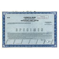 Singapore Land Limited,ca.1970-80's, A.D.R. Specimen Stock Certificate.
