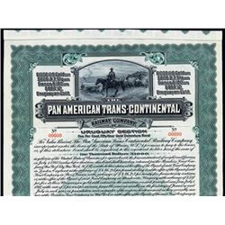 Pan American Trans-Continental Railway Co. Specimen Bond.