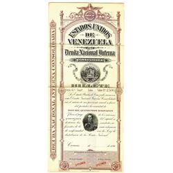 Estados Unidos de Venezuela , 1896 Specimen Bond