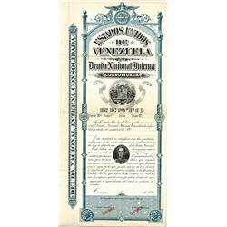 Estados Unidos De Venezuela, Deuda Nacional Interna Consolidada 1896 Specimen Bond.