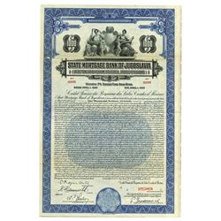 State Mortgage Bank of Jugoslavia, Specimen Stock Certificate.