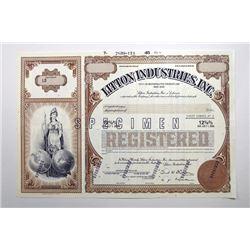 Litton Industries, Inc., 1985 Specimen Bond