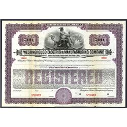 Westinghouse Electric & Manufacturing Co., 1920 Specimen Bond.