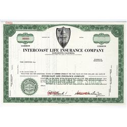 Intercoast Life Insurance Co., ca.1960-1970 Specimen Stock Certificate