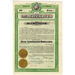 Maccabees, ca.1911-1920 Specimen Insurance Membership Policy.