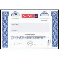 Celebrating their 25th Anniversary, McAffee.com Corp. Specimen Stock Certificate.