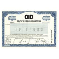 Computer Microfilm Corp., 1988 Specimen Stock Certificate