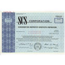 SCS Corp., 1971 Specimen Stock Certificate