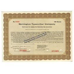 Remington Typewriter Co., 1920 Specimen Stock Certificate