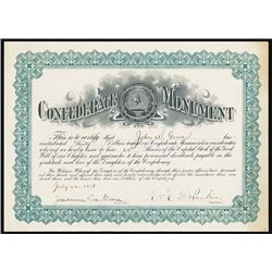 U.S. Daughters of the Confederacy CONFEDERATE MONUMENT Certificate.