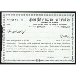 Alaska Silver Fox and Fur Farms Co., ca.1920-1930 Stock Transfer Certificate