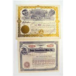 Mining Stock Certificate Pair, ca.1906-1907.