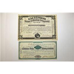 Mining Stock Certificate Pair, ca.1882 & 1883.