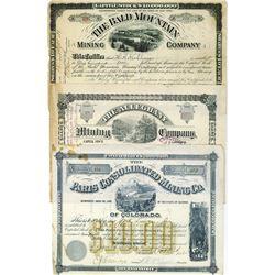 Colorado Mining Stock Certificate Trio, ca.1880-1887.