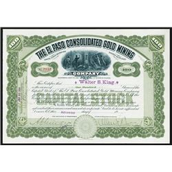 El Paso Consolidated Gold Mining 1914 Stock Certificate.