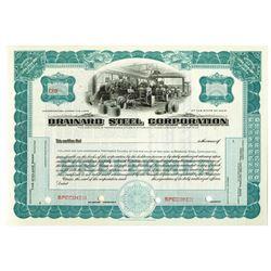 Brainard Steel Corp., ca.1940-1950 Specimen Stock Certificate
