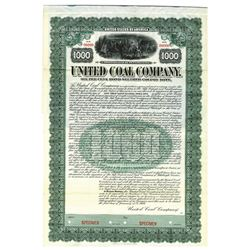 United Coal Co., 1909 Specimen Bond