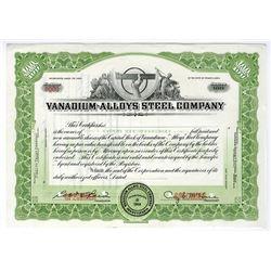 Vanadium-Alloys Steel Co., ca.1940-1950 Specimen Stock Certificate