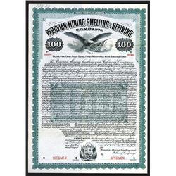 Peruvian Mining Smelting and Refining Co. 1906 Specimen Bond.