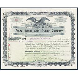 Pande Basin Gold Placer Co. 1898 Issued Stock Certificate.
