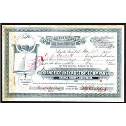 Orange County Abstract Co. Issued Stock Certificate.