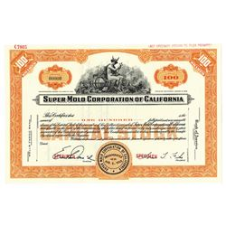 Super Mold Corp. of California, ca.1960-1970 Specimen Stock Certificate