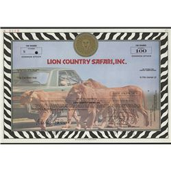 Lion Country Safari, Inc., 1978 Specimen Stock Certificate.