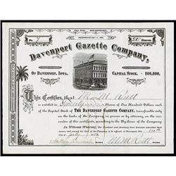 Davenport Gazette Co. 1882 Stock Certificate.