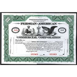 Persian-American Commercial Corp., 19xx (ca.1910-30), Specimen Stock Certificate.