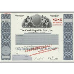 Czech Republic Fund, Inc., ca.1970's Specimen Stock Certificate.
