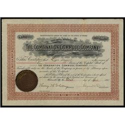 Combination Commode Co. 1894 Stock Certificate.