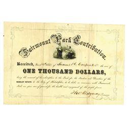 Fairmont Park Contribution Certificate, 1857