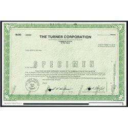 Turner Corp., 1989, Specimen Stock Certificate.