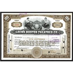 Loew's Boston Theatres Co., 1930 Issued Stock Certificate
