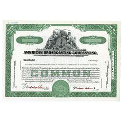 American Broadcasting Co., ca.1960-80's Specimen Stock Certificate.