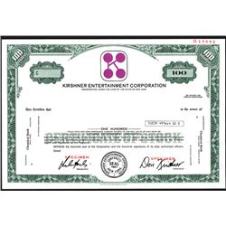 Kirshner Entertainment Corp., Specimen Stock Certificate, ca. 1970's.