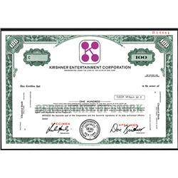 Kirshner Entertainment Corp., Specimen Stock Certificate, ca. 1970's.