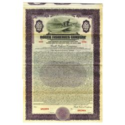 Booth Fisheries Co., 1926 Specimen Bond, Alaska, Canada & Great Lakes Fishing Company.