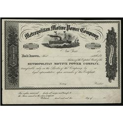 Metropolitan Motive Power Co., ca.1870-1880 Proof Stock Certificate