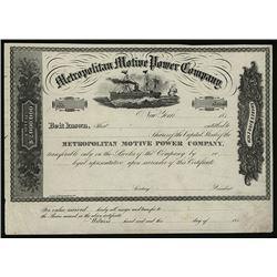 Metropolitan Motive Power Co., ca.1870-1880 Proof Stock Certificate