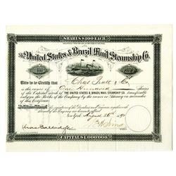 United States & Brazil Mail Steamship Co., 1891 Stock Certificate.