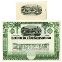 Republic Oil & Gas Corp., ca.1925-1930 Specimen Stock Certificate with Matching Proof Vignette.
