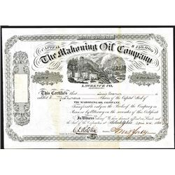 Mahoning Oil Co., 1865 Issued Stock Certificate.