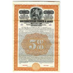 Southwestern Power & Light Co., 1913 Specimen Bond