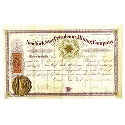 New York Star Petroleum and Mining Co., 1865 Issued Stock Certificate.