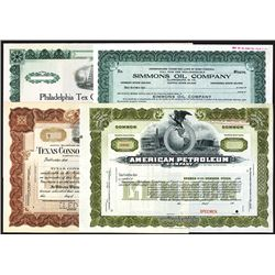 Assortment of Oil Related Specimen Stock Certificate Quartet, ca.1900-1920's.