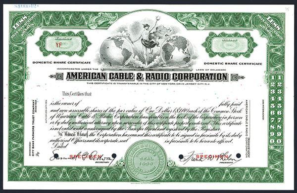 American Cable /& Radio Corporation Stock Certificate