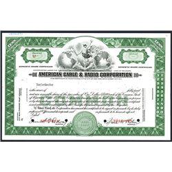 American Cable & Radio Corp., Specimen Stock Certificate.