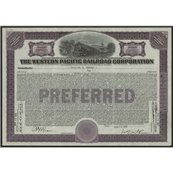 Western Pacific Railroad Corp., Issued Stock Certificate.