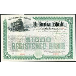 Rio Grande Western Railway Co. ca.1890's-1900 Specimen Bond.